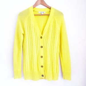FOREVER 21 Bright Yellow Cable Knit Cardigan